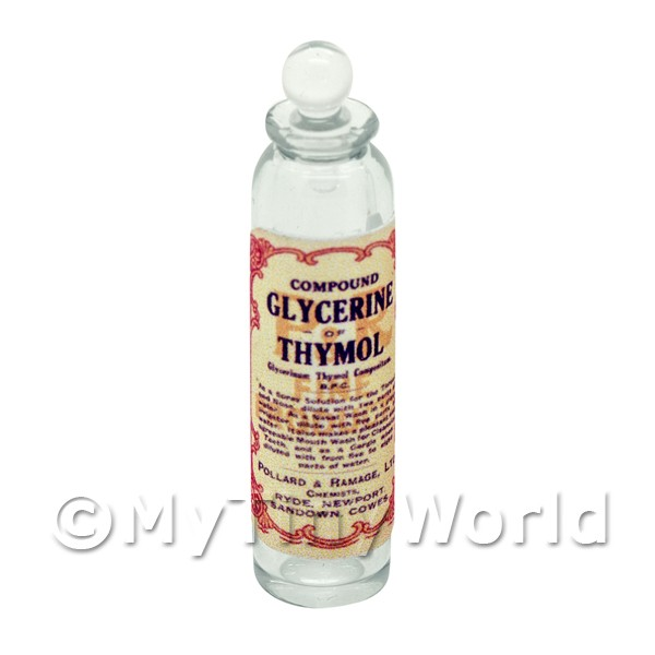 Miniature Glycerine of Thymol Clear Glass Apothecary Bottle