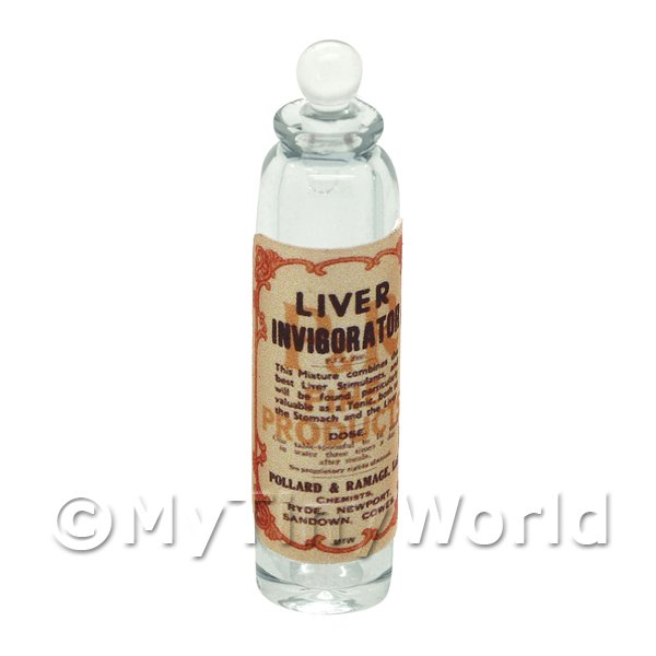 Miniature Liver Invigorator Clear Glass Apothecary Bottle