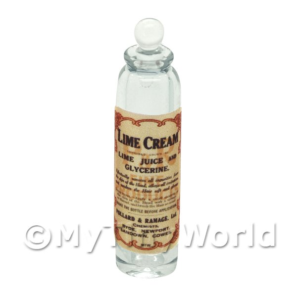 Dolls House Miniature  | Miniature Lime Cream Clear Glass Apothecary Bottle