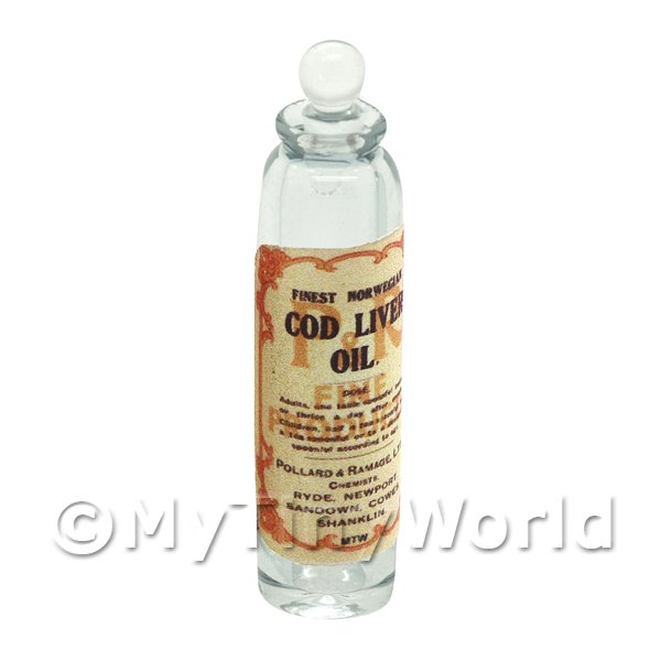 Miniature Cod Liver Oil Clear Glass Apothecary Bottle