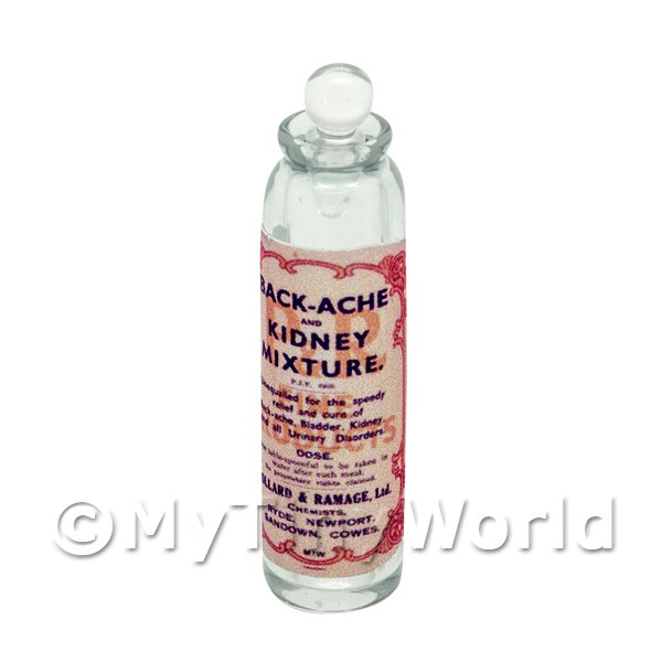 Dolls House Miniature  | Miniature Kidney Mixture Clear Glass Apothecary Bottle