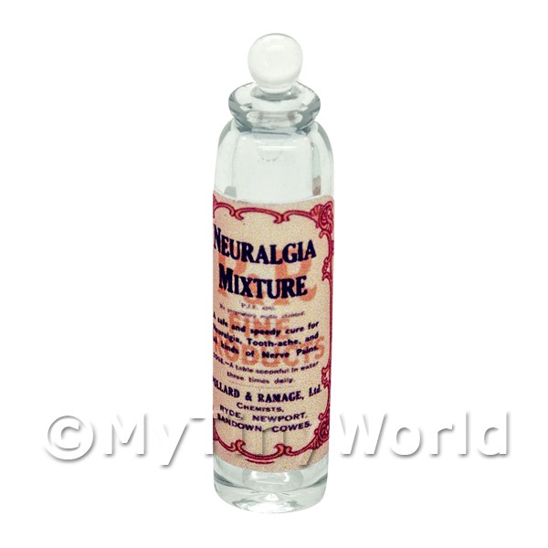 Dolls House Miniature  | Miniature Neuralgia Mixture Clear Glass Apothecary Bottle