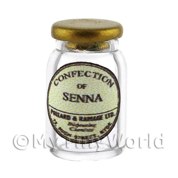 Miniature Confection of Senna Glass Apothecary Ointment Jar