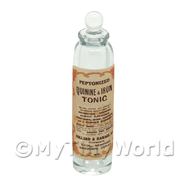 Miniature Quinine and Iron Tonic Clear Glass Apothecary Bottle