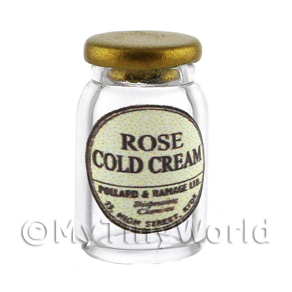 Miniature Rose Cold Cream Glass Apothecary Ointment Jar