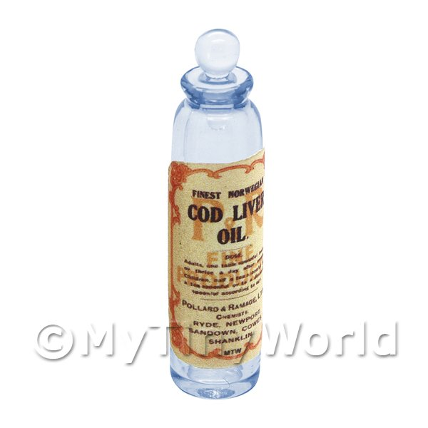 Miniature Cod Liver Oil Blue Glass Apothecary Bottle