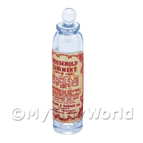 Miniature Household Liniment Blue Glass Apothecary Bottle