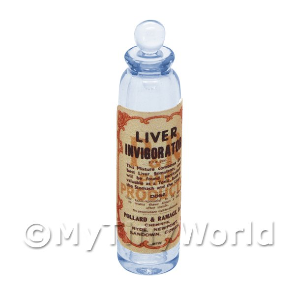 Dolls House Miniature  | Miniature Liver Invigorator Blue Glass Apothecary Bottle