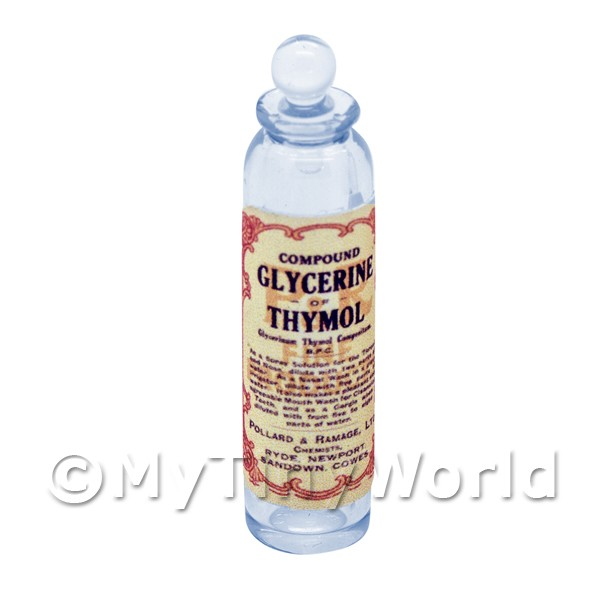 Dolls House Miniature  | Miniature Glycerine of Thymol Blue Glass Apothecary Bottle