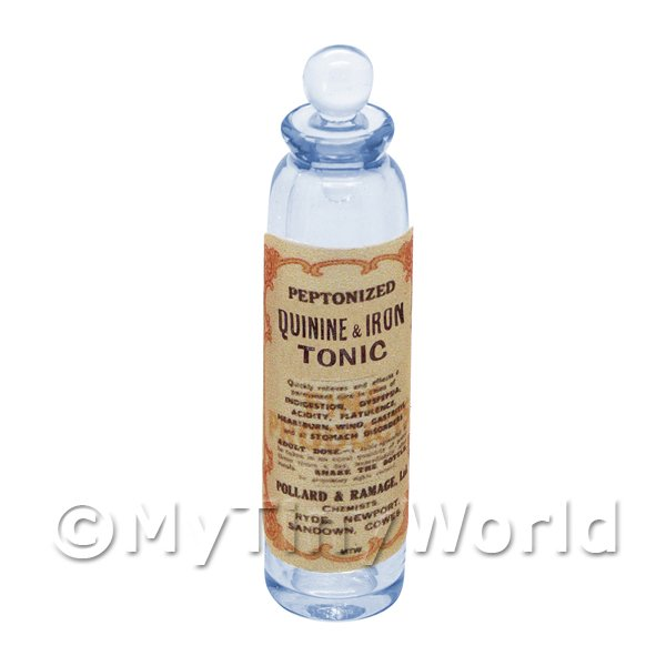 Miniature Quinine and Iron Tonic Blue Glass Apothecary Bottle