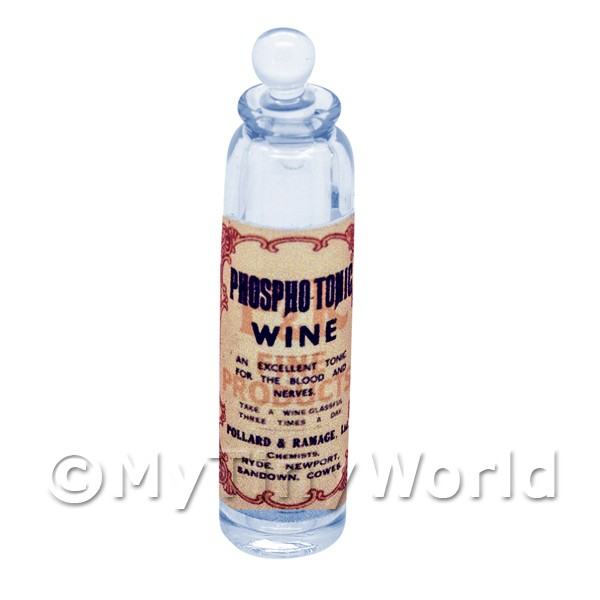 Miniature Phosphotonic Wine Blue Glass Apothecary Bottle