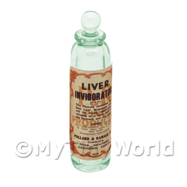 Miniature Liver Invigorator Green Glass Apothecary Bottle
