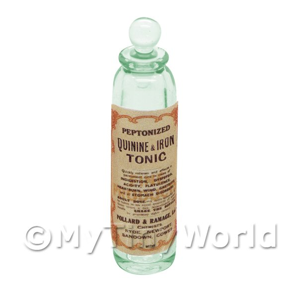 Dolls House Miniature  | Miniature Quinine and Iron Tonic Green Glass Apothecary Bottle