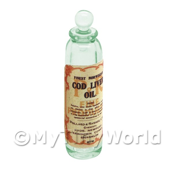 Miniature Cod Liver Oil Green Glass Apothecary Bottle