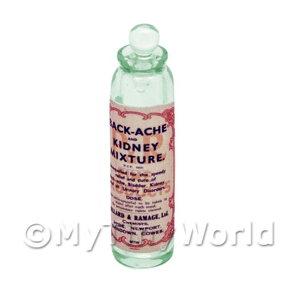 Miniature Kidney Mixture Green Glass Apothecary Bottle