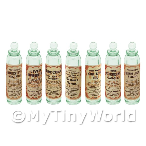 Dolls House Miniature  | Set of 7 Green Glass Apothecary Bottle (GS13) Set 2/2