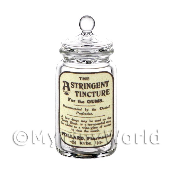 Dolls House Miniature Astringent Tincture Glass Apothecary Storage Jar