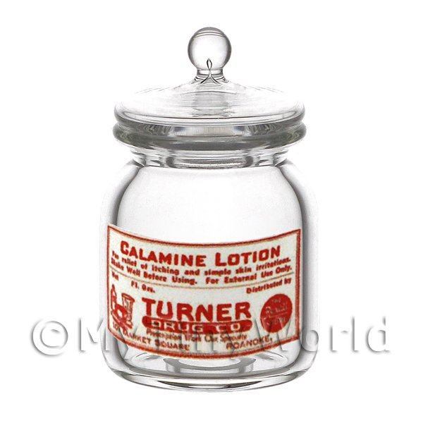Dolls House Miniature Calamine Lotion Glass Apothecary Storage Jar