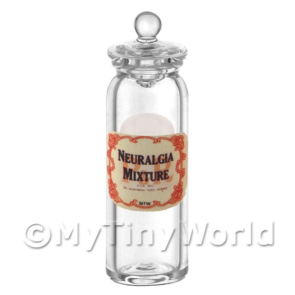 Miniature Neuralgia Mixture Glass Apothecary Jar