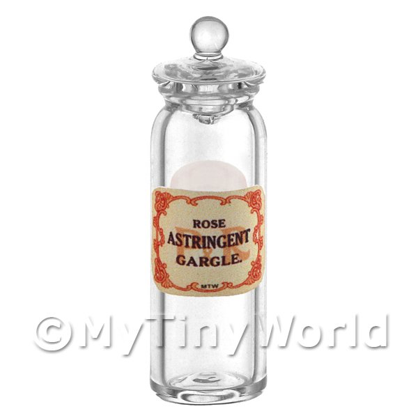 Miniature Rose Astringent Gargle Glass Apothecary Jar