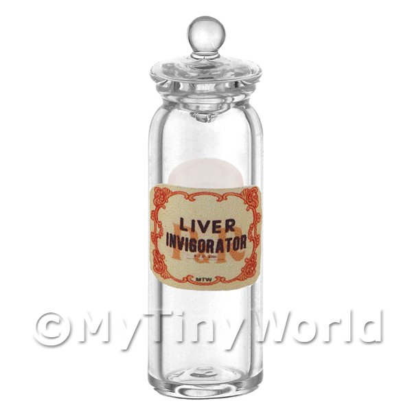 1/12 Scale Dolls House Miniatures  | Miniature Liver Invigorator Glass Apothecary Jar