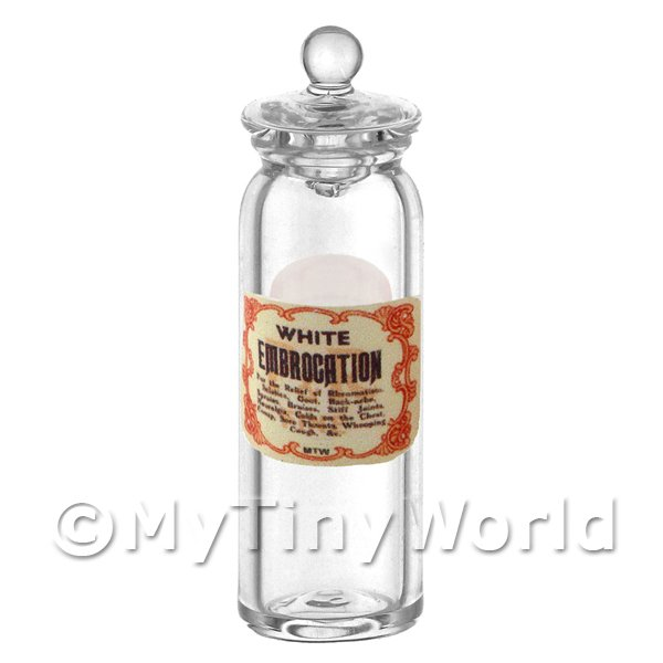 Dolls House Miniature  | Miniature White Embrocation Glass Apothecary Jar