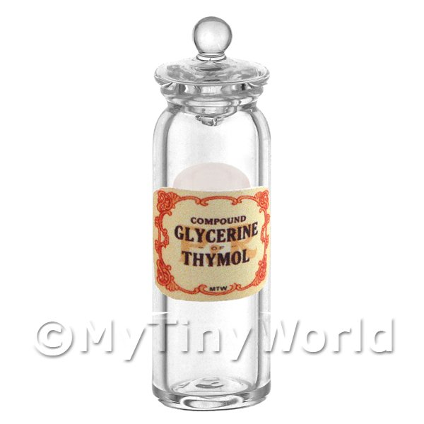 Miniature Compound Glycerine of Thymol Glass Apothecary Jar