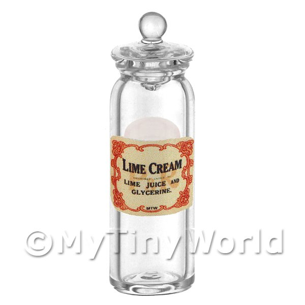 Dolls House Miniature  | Dolls House Miniature Lime Cream Glass Apothecary Jar
