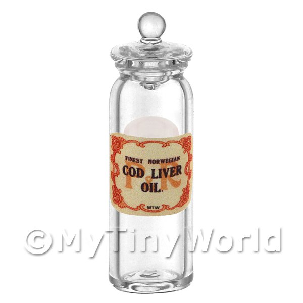 Dolls House Miniature  | Miniature Cod Liver Oil Glass Apothecary Jar
