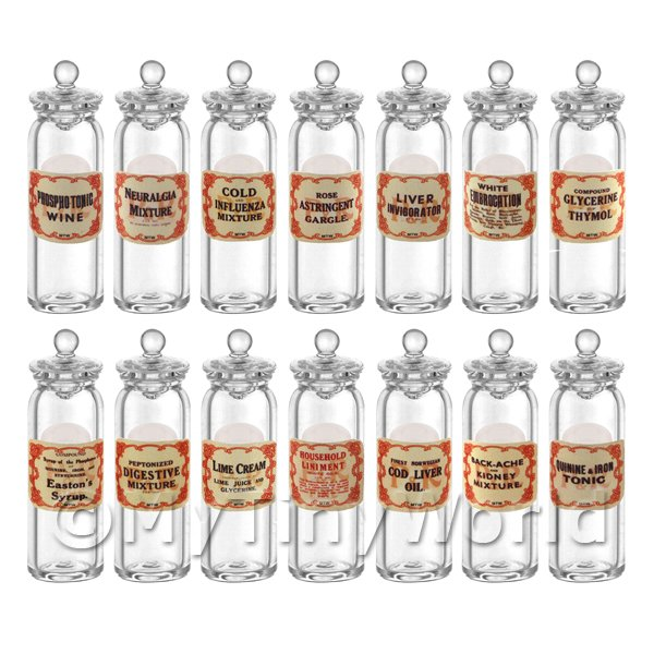 14 Miniature Glass Apothecary Storage Jars