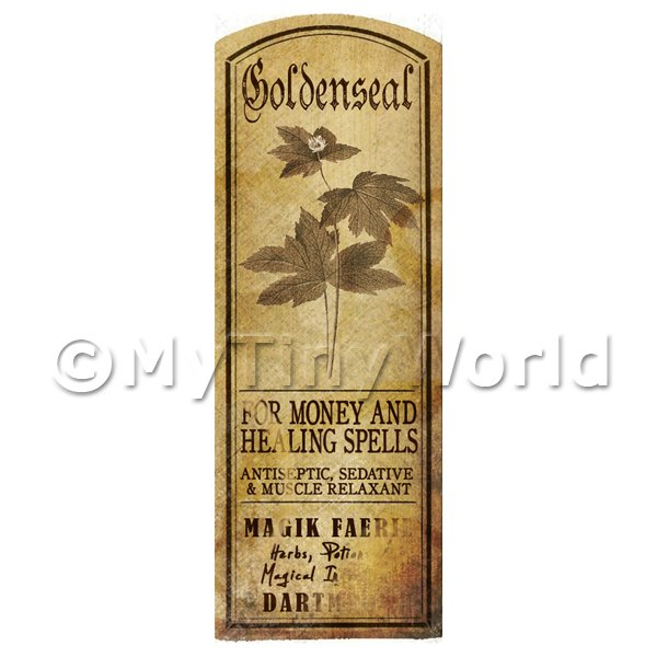 Dolls House Miniature  | Dolls House Herbalist/Apothecary Goldenseal Plant Herb Long Sepia Label