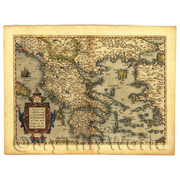1/12 Scale Dolls House Miniatures  | Dolls House Miniature Old Map Of Greece From The Late 1500s