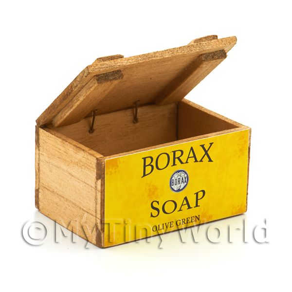 Dolls House Borax Olive Green Soap Wooden Shop Display Box