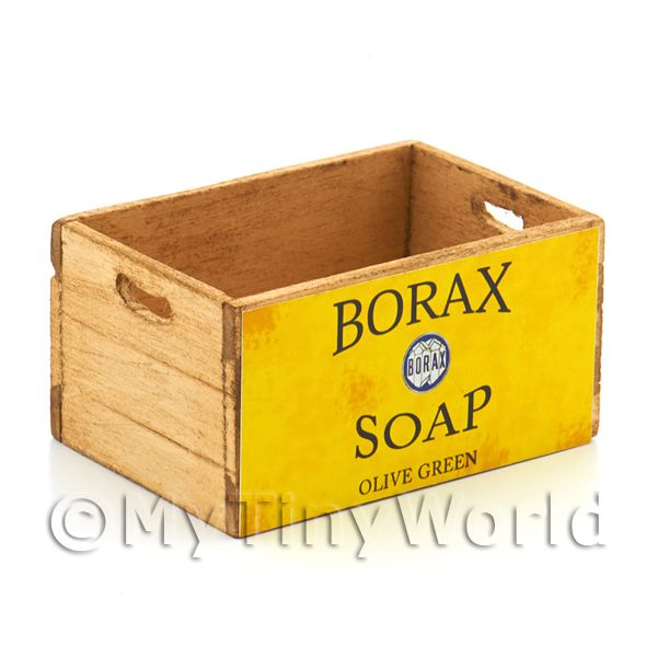 Dolls House Miniature  | Dolls House Borax Olive Green Branded Wooden Crate