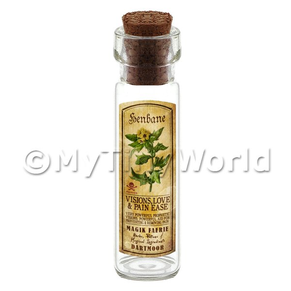 Dolls House Apothecary Henbane Herb Long Colour Label And Bottle