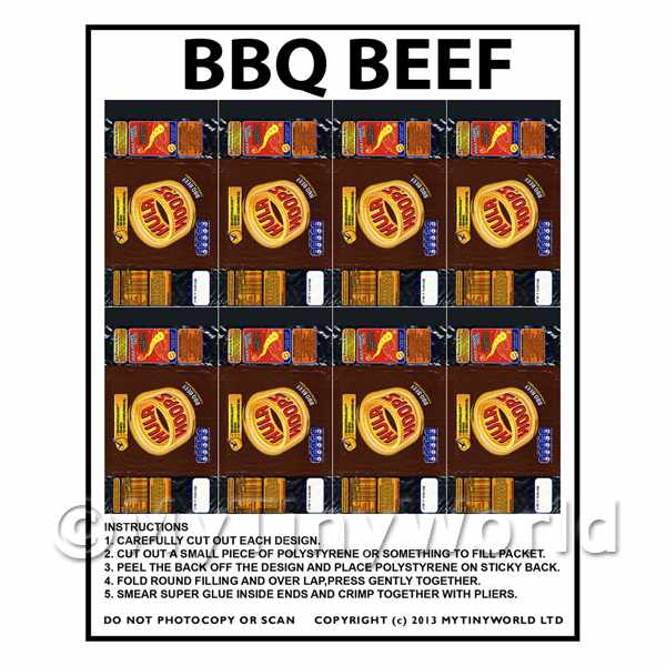 Dolls House Miniature Packaging Sheet of 8 KP Hula Hoops BBQ Beef Crisps