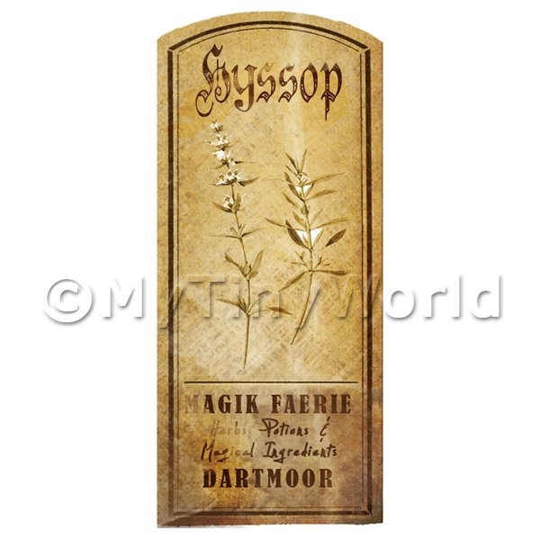 Dolls House Herbalist/Apothecary Hyssop Herb Short Sepia Label