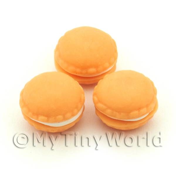 Dolls House Miniature  | Handmade Orange Macaroon For Jewellery And Charms