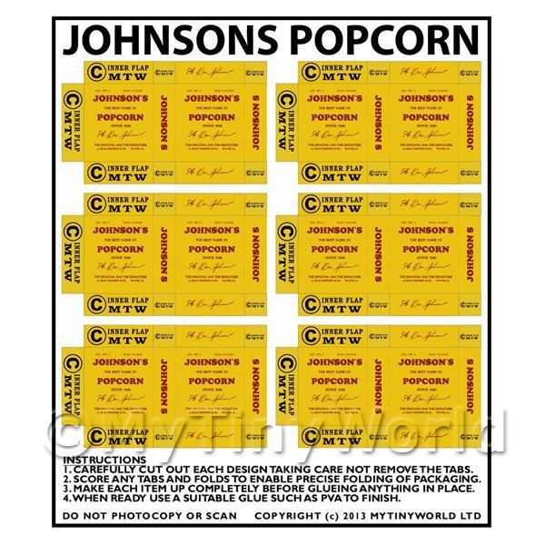 Dolls House Miniature  | Dolls House Miniature Packaging Sheet of 6 Johnsons Popcorn