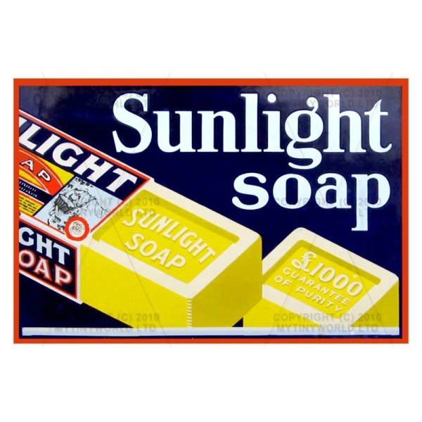 Dolls House Miniature Sunlight Soap Shop Sign Circa 1920