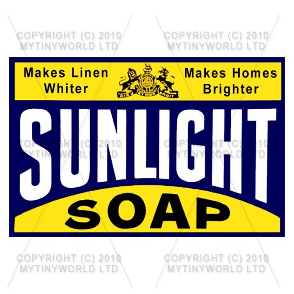 Dolls House Miniature Sunlight Soap Shop Sign Circa 1898