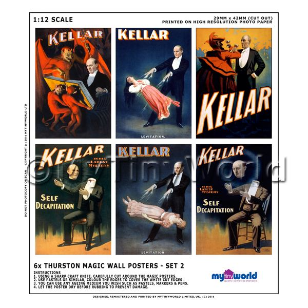 Dolls House Miniature Kellar Magic Poster Set 2 - Set of 6 Wall Posters