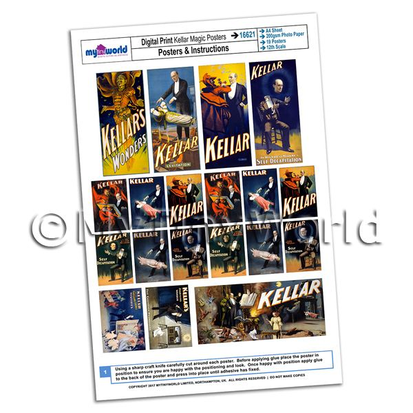 Dolls House Miniature Complete Set Kellar Magic Posters A4 Value Sheet