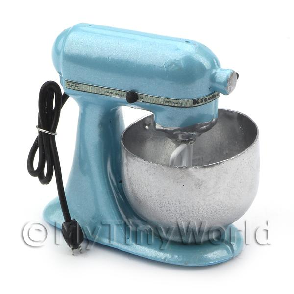 Powder Blue Dolls House Miniature Old Style Batter / Dough Mixer