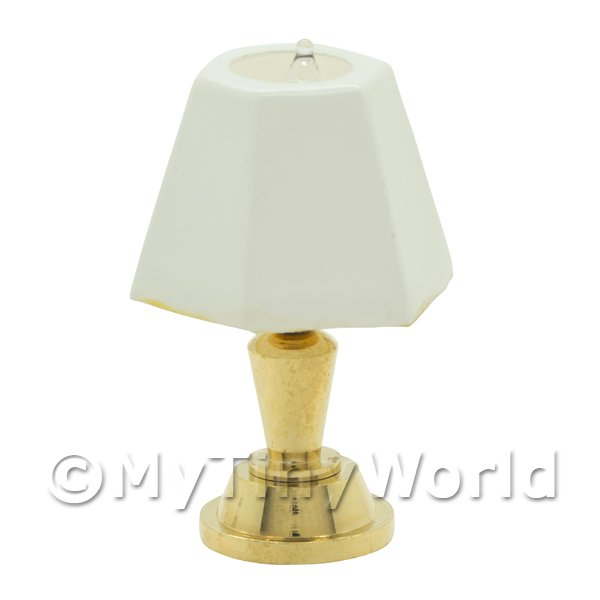 Dolls House Miniature Table Lamp With White Lampshade