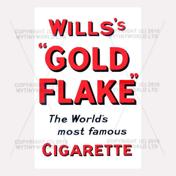 Dolls House Miniature Wills Gold Flake Cigarette Shop Sign Circa 1910
