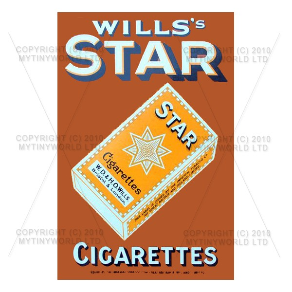 Dolls House Miniature Wills Star Cigarette Shop Sign Circa 1920