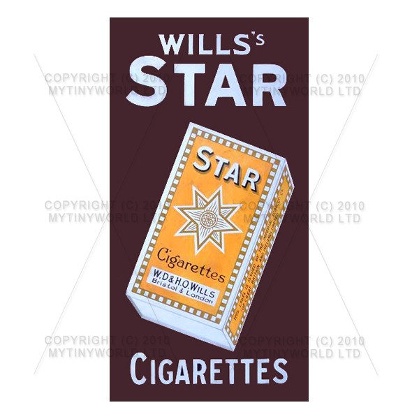 1/12 Scale Dolls House Miniatures  | Dolls House Miniature Wills Star Cigarette Shop Sign Circa 1910