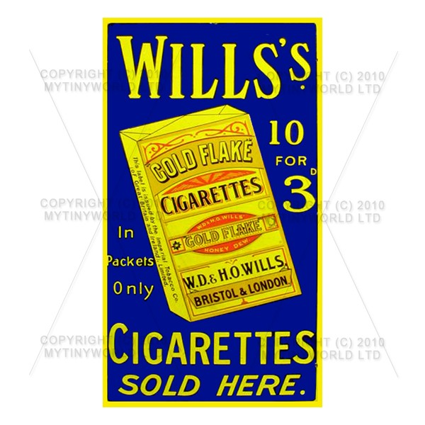 Dolls House Miniature Wills Cigarette Shop Sign Circa 1910