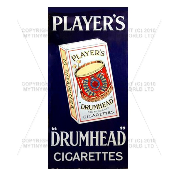 Dolls House Miniature Players Drumhead Cigarette Shop Sign Circa 1910